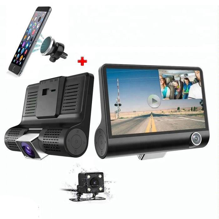 "Camera Auto Full-HD 12 MP Tripla, Display 4"" + Suport Telefon"