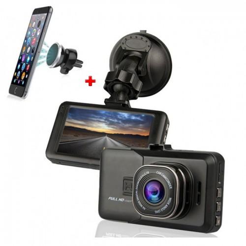 Camera Auto FULL-HD, Display 3 inch, G-Senzor Single + Suport Telefon Cadou