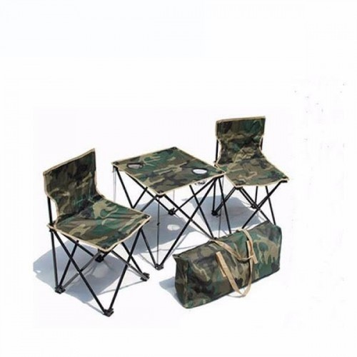 Set Camping 2x Scaune Pliabile + Masa suport pahare