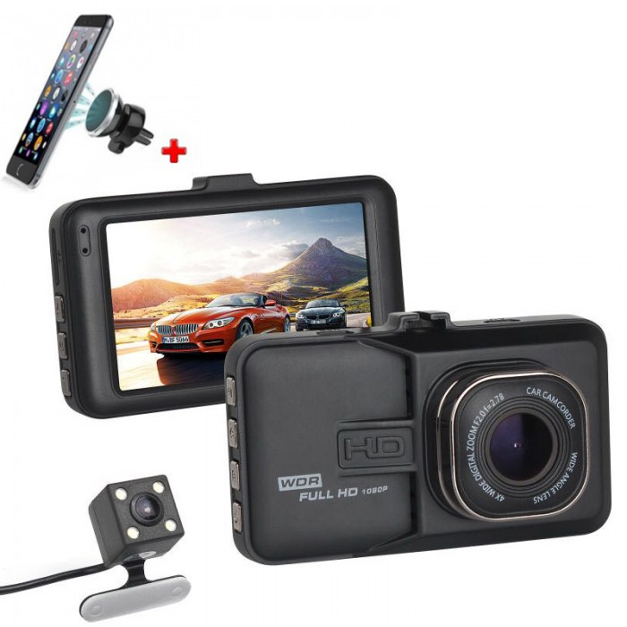Camera Video Auto Dubla T636 FULL HD + Suport Telefon