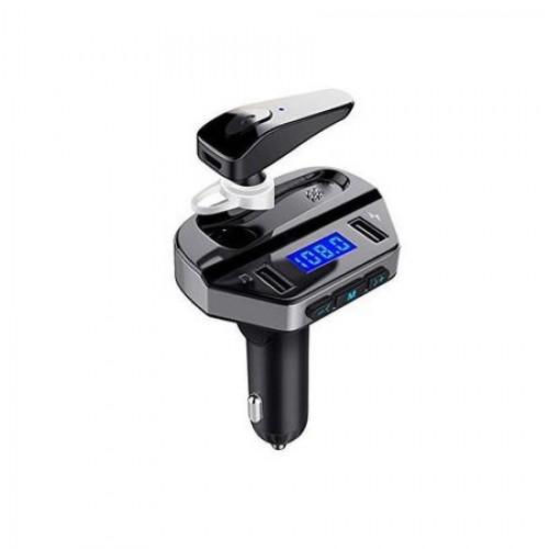 Kit modulator MP3 + Handsfree cu casca bluetooth 12V, 2 x USB